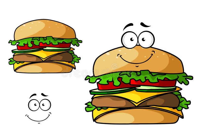 Het beeldverhaal isoleerde snel voedselcheeseburger stock illustratie