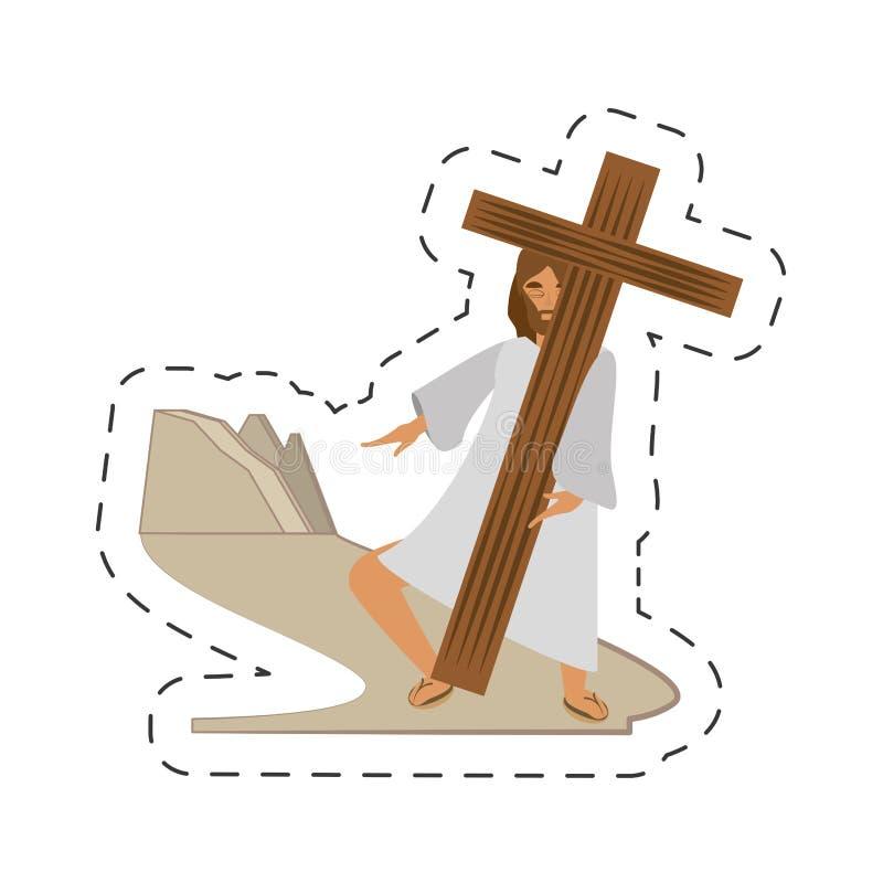 het beeldverhaal Jesus-Christus ontmoet maagdelijke Mary - via crucispost royalty-vrije illustratie