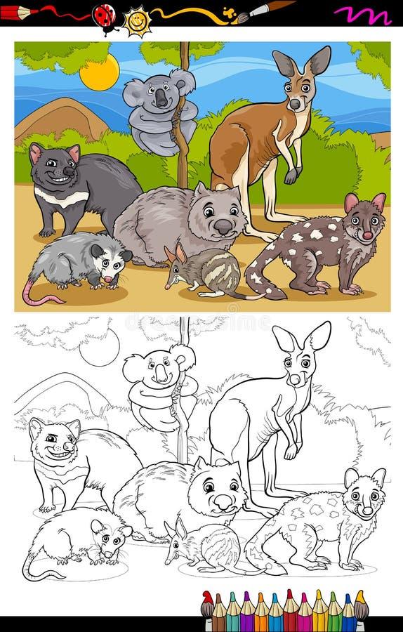 Het beeldverhaal kleurend boek van buideldierendieren stock illustratie