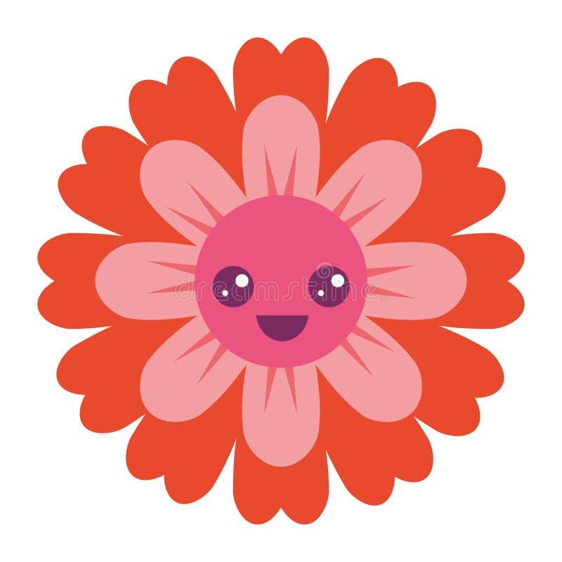 Het beeldverhaal leuke bloemblaadjes van bloemkawaii stock illustratie