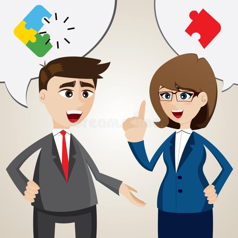 Het beeldverhaal lost probleem tussen zakenman en onderneemster op stock illustratie