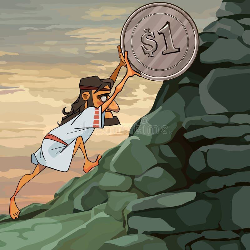 Het beeldverhaal mannelijke Sisyphus rolt een muntstuk op de heuvel stock illustratie