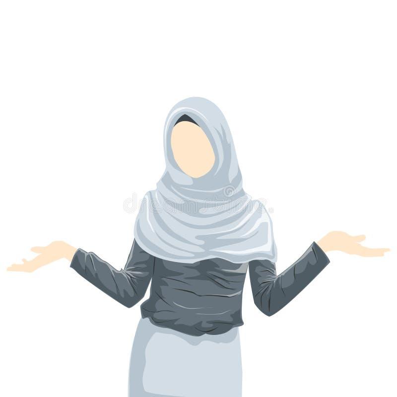 Het Beeldverhaal Moslimvrouw die van Hijab van de vrouwenslijtage hijab dragen vector illustratie