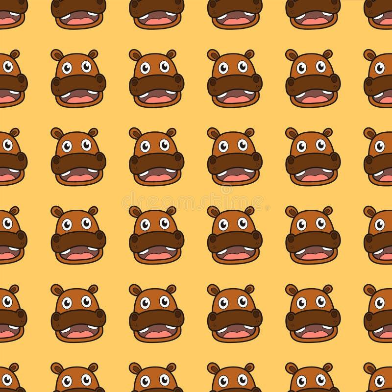 Het beeldverhaal naadloos patroon van ontwerp vector leuk hippo voor behang of achtergrond stock illustratie