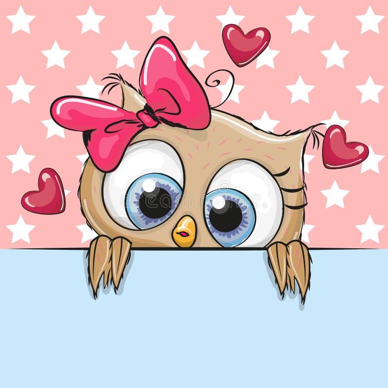 Het Beeldverhaal Owl Girl van Ð ¡ Ute houdt een aanplakbiljet vector illustratie