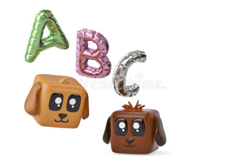 Het beeldverhaal regelt hond en abc ballon 3D Illustratie royalty-vrije illustratie