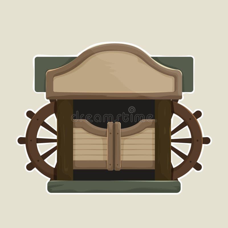 Het beeldverhaal stileerde Oude Westelijke Slingerende Zaaldeuren vector illustratie