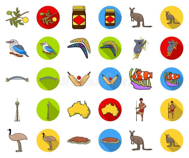 Het beeldverhaal van Australië van het land, vlakke pictogrammen in vastgestelde inzameling voor ontwerp Reis en van het aantrekk royalty-vrije illustratie