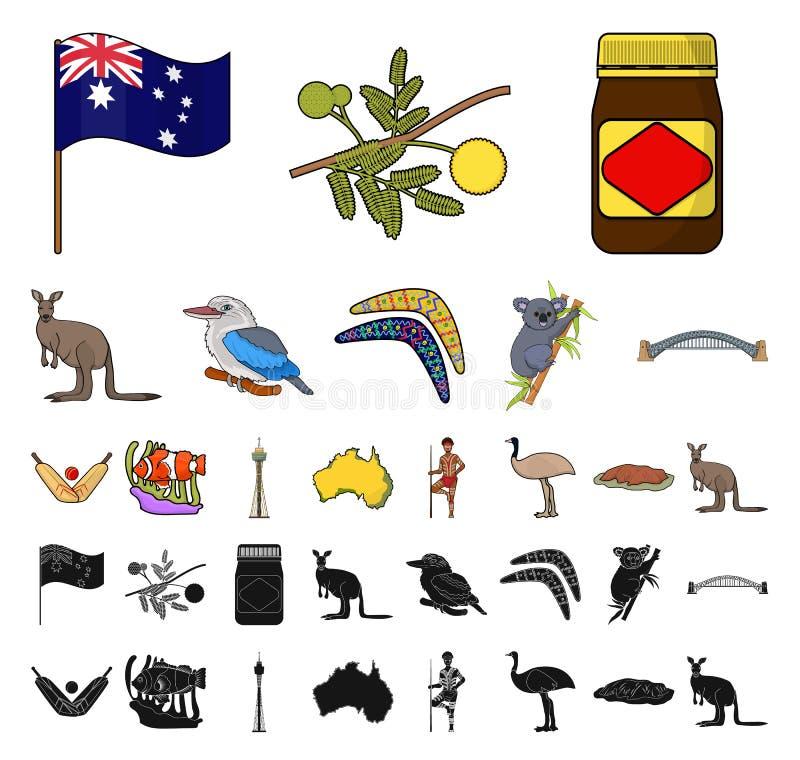 Het beeldverhaal van Australië van het land, zwarte pictogrammen in vastgestelde inzameling voor ontwerp Reis en van het aantrekk royalty-vrije illustratie