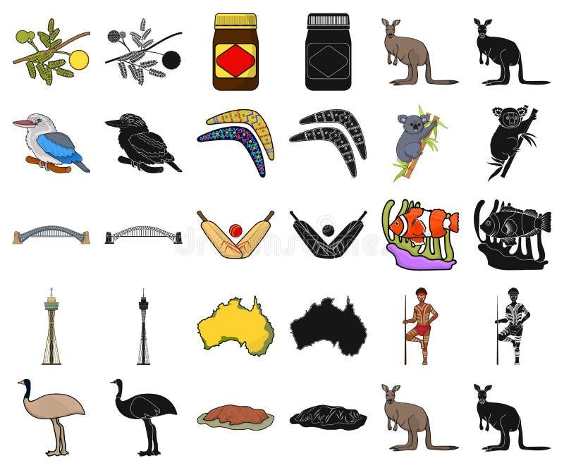 Het beeldverhaal van Australië van het land, zwarte pictogrammen in vastgestelde inzameling voor ontwerp Reis en van het aantrekk stock illustratie
