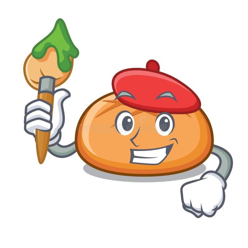 Het beeldverhaal van het het broodjeskarakter van de kunstenaarshamburger royalty-vrije illustratie