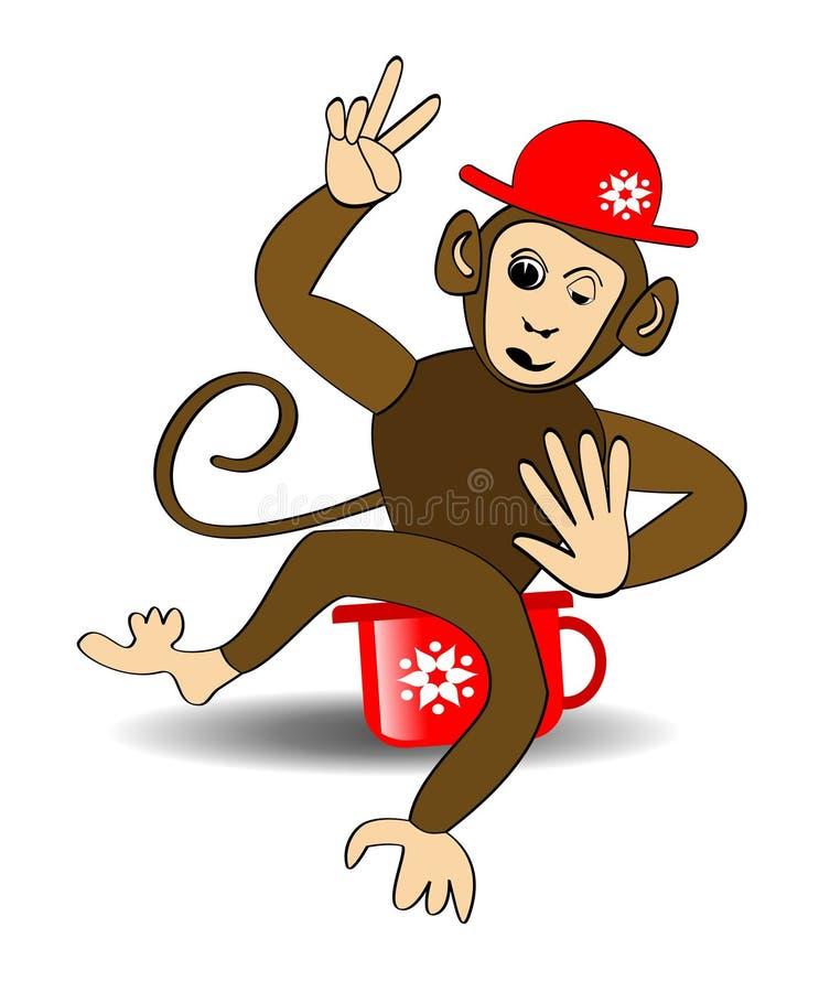 Het beeldverhaal van de aap Aap in rode hoed op rode onbenullig Aap die het gebaar van Victoria maken Vrolijke aap die op rode on royalty-vrije illustratie