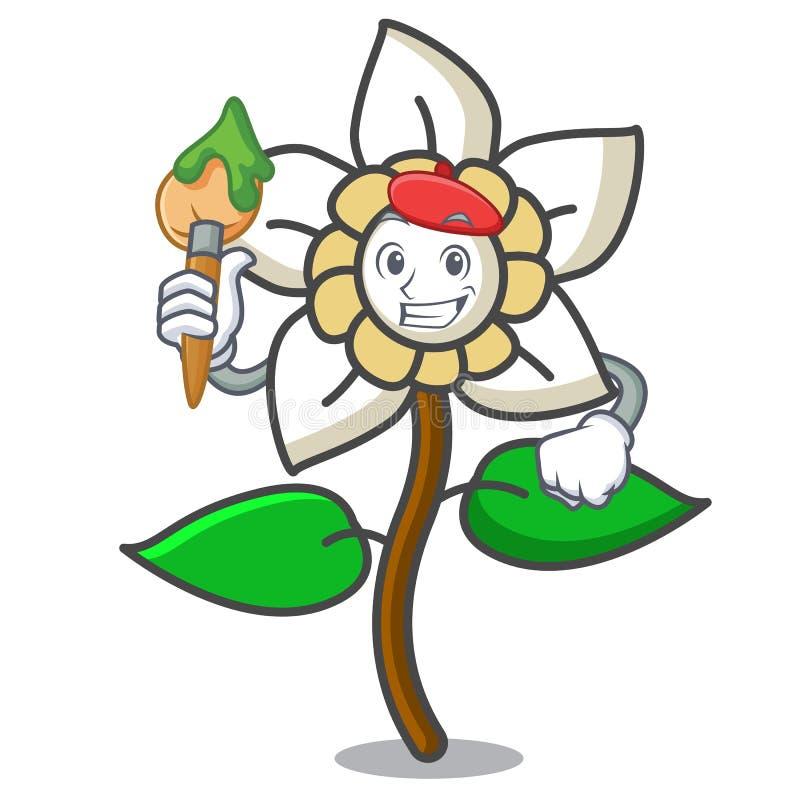 Het beeldverhaal van het de bloemkarakter van de kunstenaarsjasmijn royalty-vrije illustratie