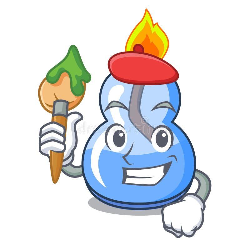 Het beeldverhaal van het de branderkarakter van de kunstenaarsalcohol royalty-vrije illustratie
