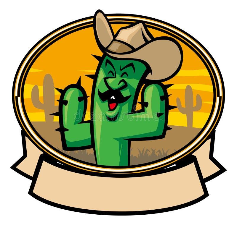 Het beeldverhaal van de cactuscowboy vector illustratie