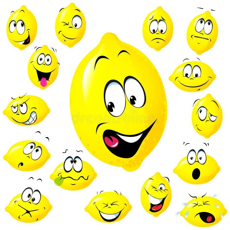 Het beeldverhaal van de citroen stock illustratie