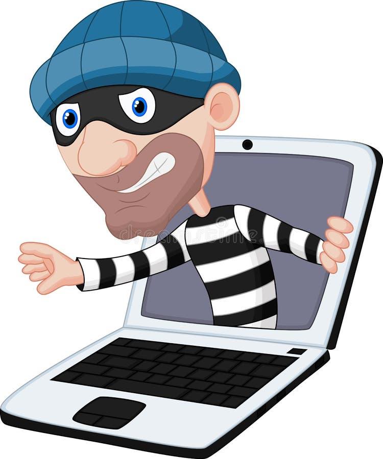 Het beeldverhaal van de computermisdaad stock illustratie