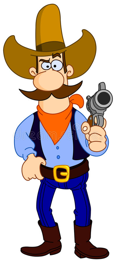 Het beeldverhaal van de cowboy stock illustratie