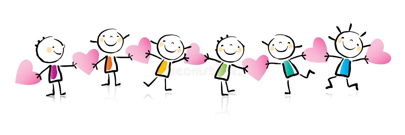 Het beeldverhaal van de Dag van de valentijnskaart vector illustratie