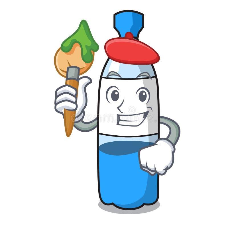 Het beeldverhaal van het de flessenkarakter van het kunstenaarswater royalty-vrije illustratie