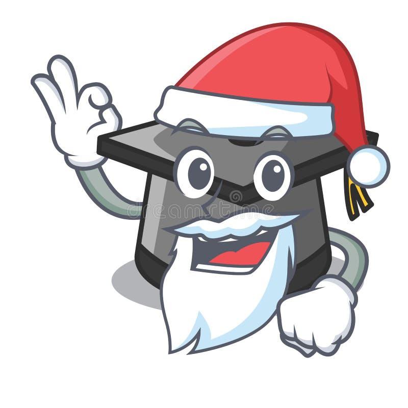 Het beeldverhaal van de de hoedenmascotte van de kerstmangraduatie stock illustratie