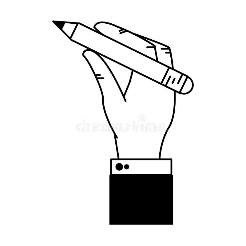 Het beeldverhaal van het de holdingspotlood van de zakenmanhand in zwart-wit royalty-vrije illustratie