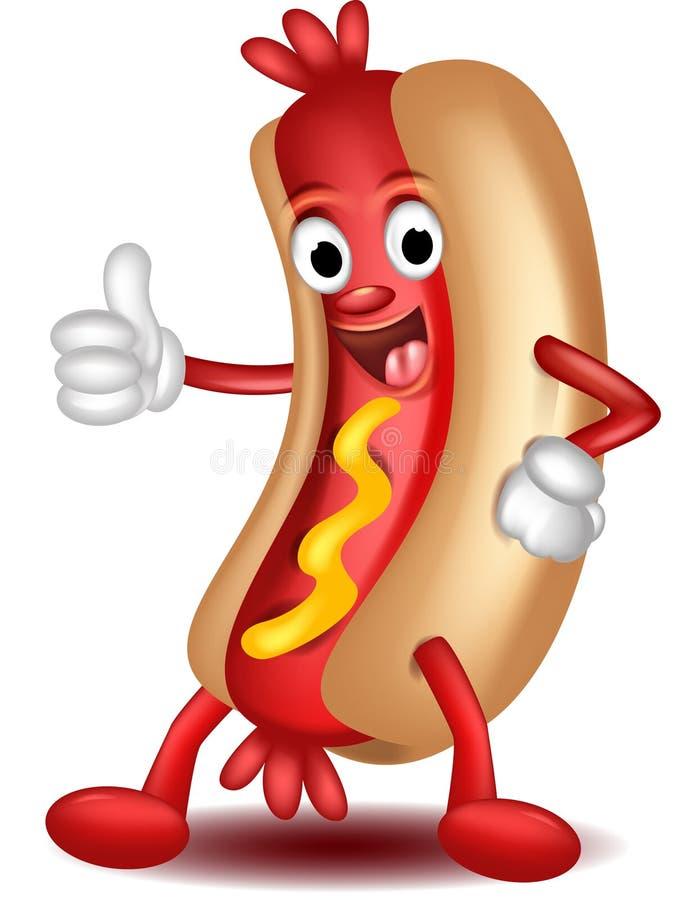 Het beeldverhaal van de hotdog beduimelt omhoog stock illustratie