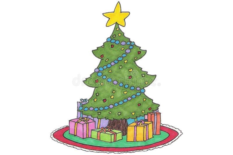 Het beeldverhaal van de kerstboom stock foto