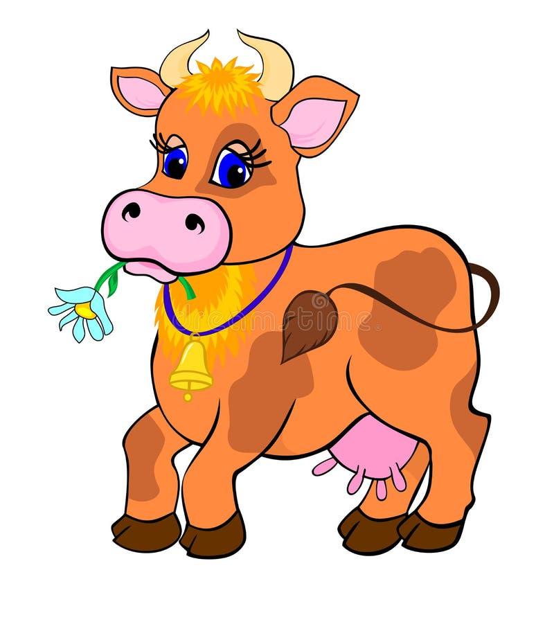 Het beeldverhaal van de koe stock illustratie