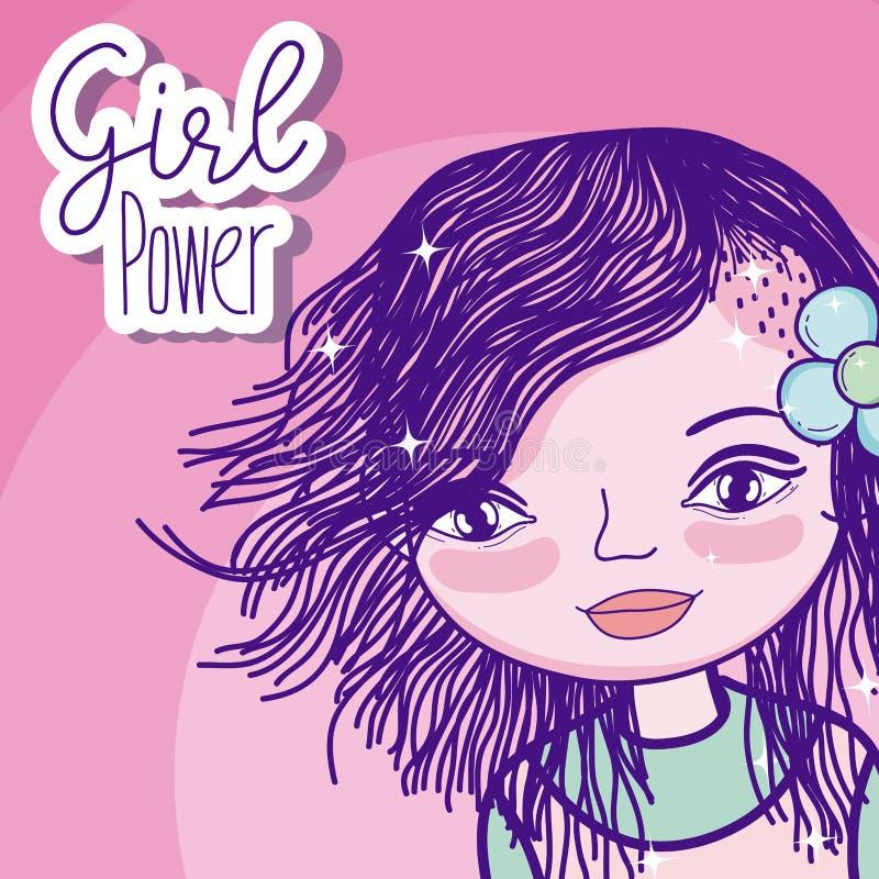 Het beeldverhaal van de meisjesmacht stock illustratie