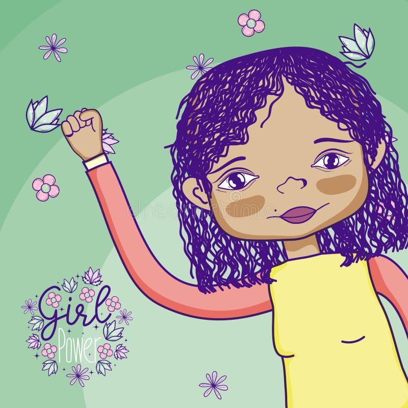 Het beeldverhaal van de meisjesmacht royalty-vrije illustratie