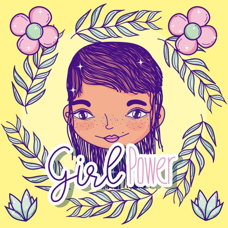 Het beeldverhaal van de meisjesmacht vector illustratie