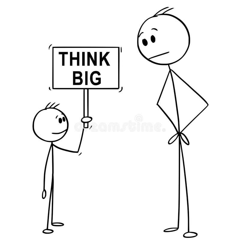 Het beeldverhaal van de Mens en de Kleine Jongensholding denken Groot Teken vector illustratie