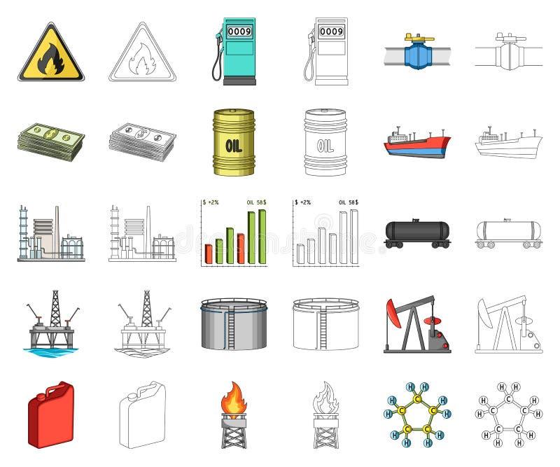 Het beeldverhaal van de olieindustrie, overzichtspictogrammen in vastgestelde inzameling voor ontwerp Materiaal en de voorraadweb royalty-vrije illustratie