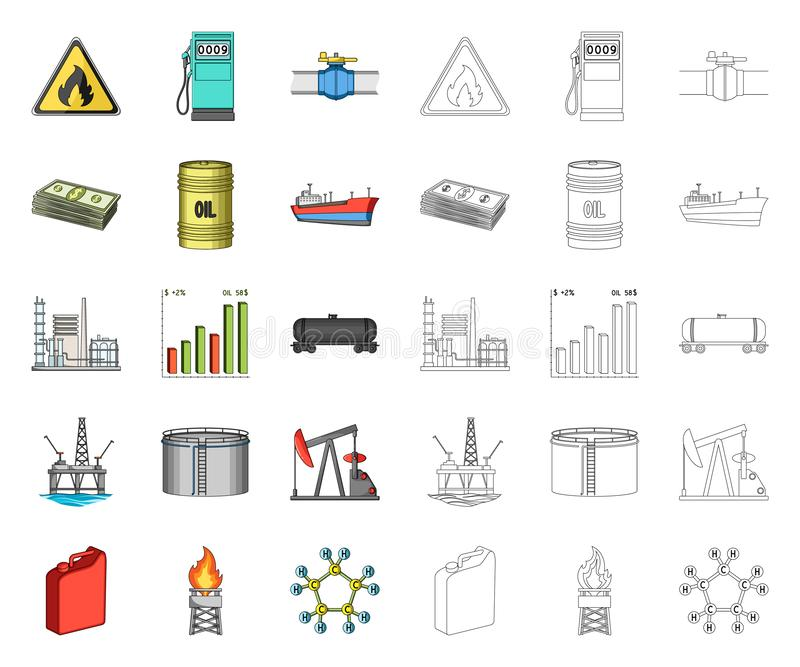 Het beeldverhaal van de olieindustrie, overzichtspictogrammen in vastgestelde inzameling voor ontwerp Materiaal en de voorraadweb vector illustratie