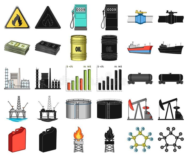 Het beeldverhaal van de olieindustrie, zwarte pictogrammen in vastgestelde inzameling voor ontwerp Materiaal en de voorraadweb va stock illustratie