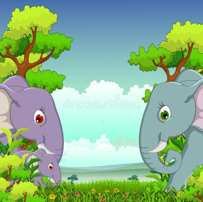Het beeldverhaal van de paarolifant met bosachtergrond stock illustratie