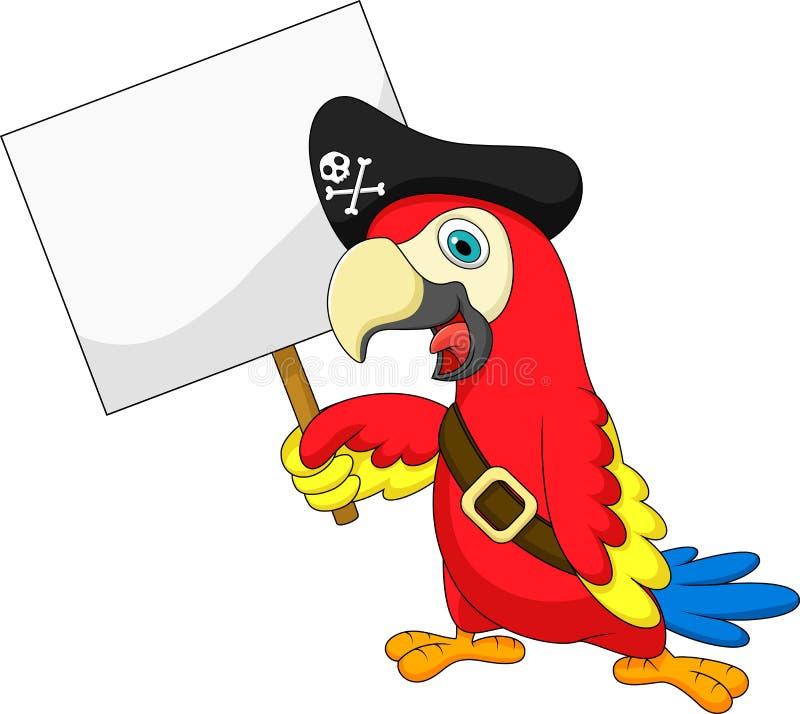 Het beeldverhaal van de papegaaipiraat met leeg teken stock illustratie