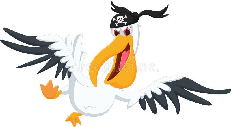 Het beeldverhaal van de pelikaanpiraat stock illustratie