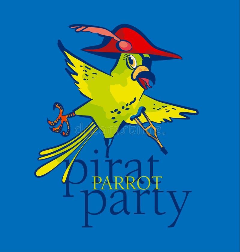 Het beeldverhaal van de piraatpapegaai stock illustratie