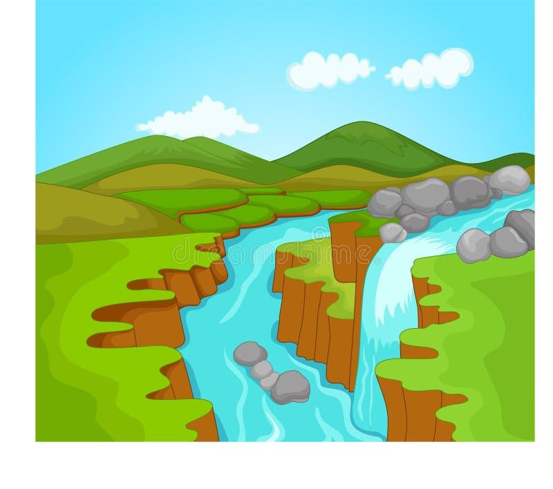 Het beeldverhaal van de schoonheidswaterval royalty-vrije illustratie
