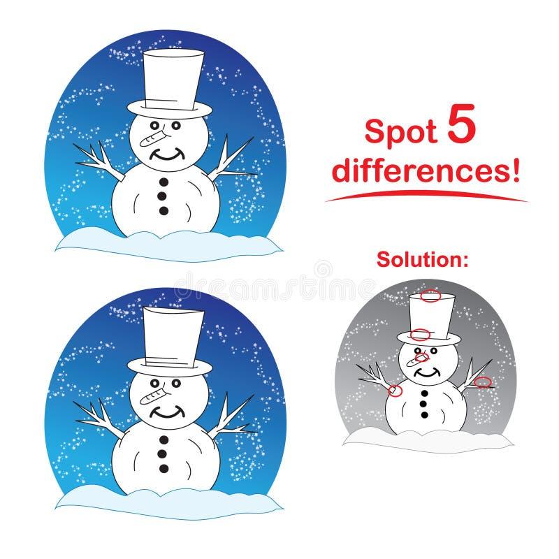 Het beeldverhaal van de sneeuwman: Vlek 5 verschillen! stock illustratie