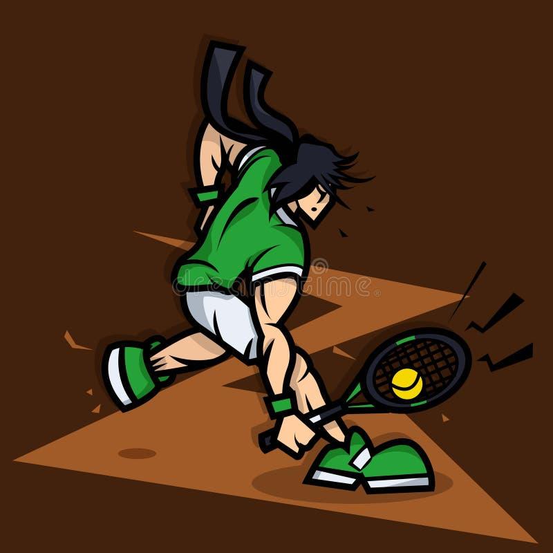 Het Beeldverhaal van de tennisspeler met grote spier stock illustratie