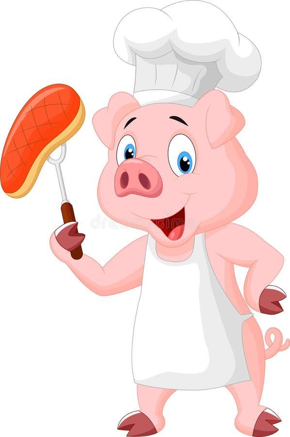 Het beeldverhaal van de varkenschef-kok met geroosterd lapje vlees stock illustratie