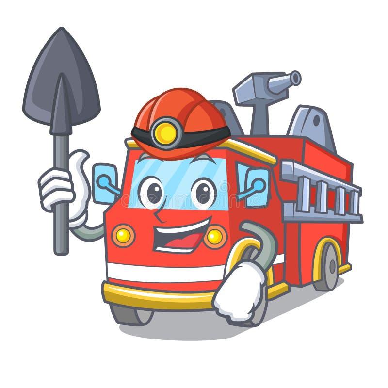 Het beeldverhaal van de de vrachtwagenmascotte van de mijnwerkersbrand stock illustratie
