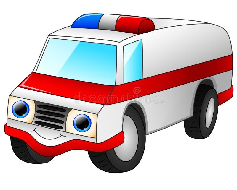 Het beeldverhaal van de ziekenwagenauto op witte achtergrond wordt geïsoleerd die vector illustratie
