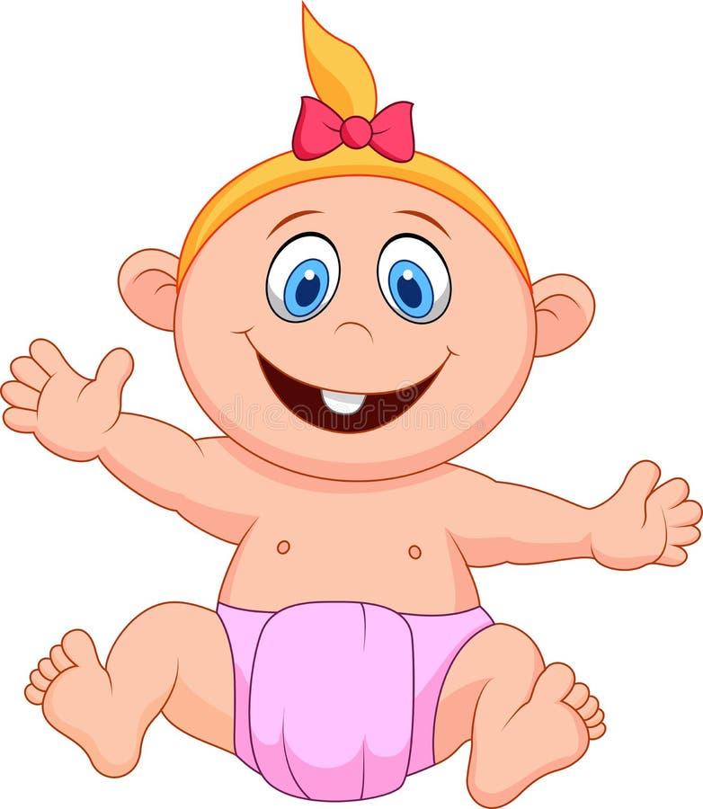 Het beeldverhaal van het babymeisje stock illustratie