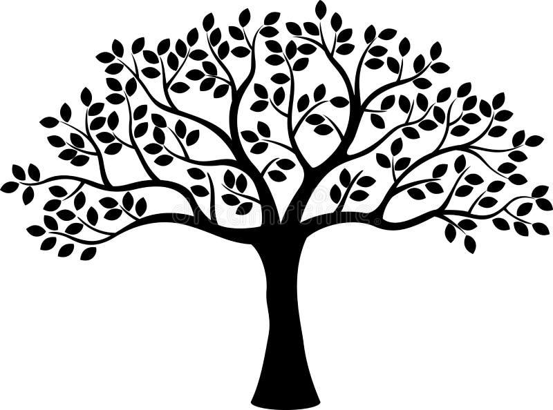 Het beeldverhaal van het boomsilhouet stock illustratie