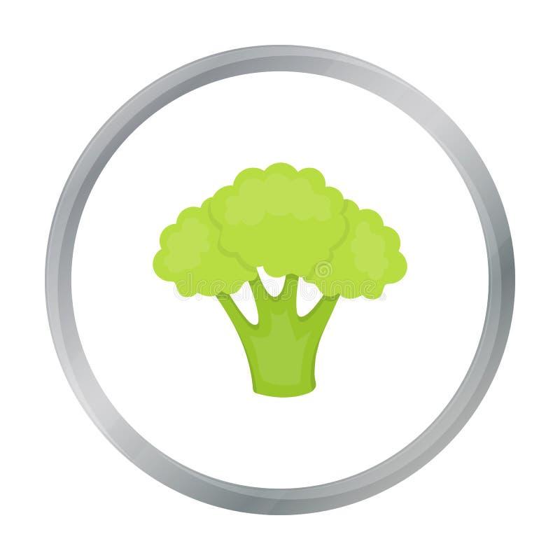 Het beeldverhaal van het broccolipictogram Het pictogram van schroeiplekgroenten van het beeldverhaal van het ecovoedsel vector illustratie