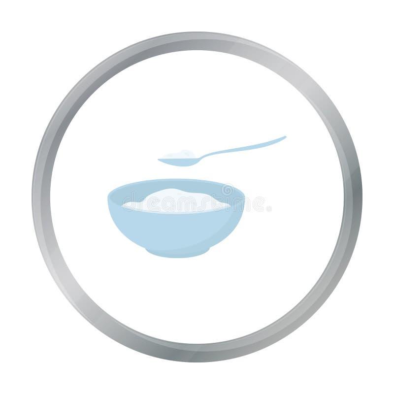 Het beeldverhaal van het kwarkpictogram Enige bio, eco, biologisch productpictogram van het grote melkbeeldverhaal stock illustratie